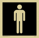 male toilet symbol in negative black Text: None