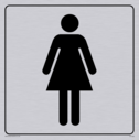 female toilet symbol in positive black with border Text: None