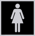 female toilet symbol in negative black Text: None