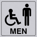 wheelchair / disabled & male toilet symbols in positive black with border Text: men