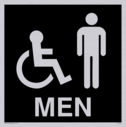 wheelchair / disabled & male toilet symbols in negative black Text: men