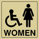 wheelchair / disabled & female toilet symbols / sign in positive black with border Text: women