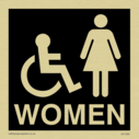 wheelchair / disabled & female toilet symbols / sign in negative black Text: women