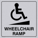 wheelchair / disabled and ramp symbol / sign in positive black with border Text: wheelchair ramp