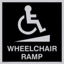 wheelchair / disabled and ramp symbol / sign in negative black Text: wheelchair ramp