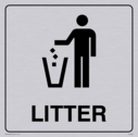 litter bin symbol / sign in positive black with border Text: litter