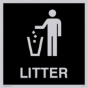 litter bin symbol / sign in negative black Text: litter