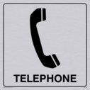 telephone symbol / sign in positive black with border Text: telephone