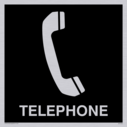 telephone symbol / sign in negative black Text: telephone