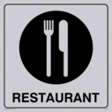 restaurant knife and fork symbol - sign in positive black with border Text: restaurant