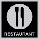 restaurant knife and fork symbol - sign in negative black Text: restaurant