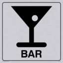 bar cocktail glass symbol / sign in positive black with border Text: bar