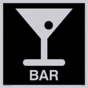 bar cocktail glass symbol / sign in negative black Text: bar