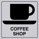 coffee cup and saucer symbol / sign in positive black with border Text: coffee shop