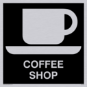 coffee cup and saucer symbol / sign in negative black Text: coffee shop