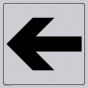 """straight arrow facing left, right, up or down sign in positive black with border"" Text: None"