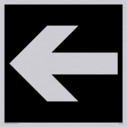 """straight arrow facing left, right, up or down sign in negative black"" Text: None"