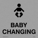 Baby Changing door sign. Text: BABY CHANGING