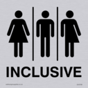 <p>Gender Neutral Inclusive Toilet sign with male, female and non-binary toilet symbols in positive black</p> Text: Inclusive