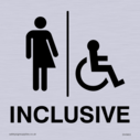 <p>Gender Neutral / Disabled Inclusive Toilet sign with non-binary toilet and disabled symbols in positive black</p> Text: Inclusive