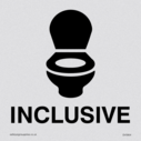<p>Inclusive WC Toilet with WC symbol in positive black</p> Text: Inclusive