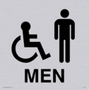 wheelchair / disabled & male toilet symbols in positive black Text: Men