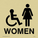 wheelchair / disabled & female toilet symbols in positive black Text: Women