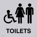 """wheelchair / disabled, male & female toilet symbols / sign in positive black"" Text: Toilets"