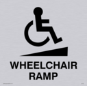 wheelchair / disabled and ramp symbol / sign in positive black Text: Wheelchair ramp