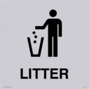 litter bin symbol / sign in positive black Text: Litter