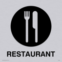 restaurant knife and fork symbol - sign in positive black Text: Restaurant