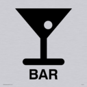 bar cocktail glass symbol / sign in positive black Text: Bar