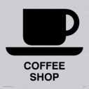 coffee cup and saucer symbol / sign in positive black Text: Coffee shop