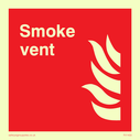 Red background, with white text and flame symbol Text: Smoke vent