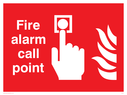 Fire Alarm Call Point safety sign with alarm button & flames Text: Fire alarm call point