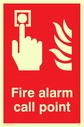 <p>Fire Alarm Call Point safety sign with alarm button & flames</p> Text: Fire alarm call point