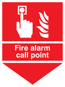 alarm button & flames & arrow down Text: Fire alarm call point