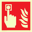 Fire alarm call point sign with finger pushing button & flames Text: None - fire alarm symbol only