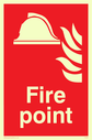 <p>Fire point with helmet & flames</p> Text: fire point