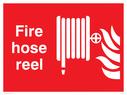 fire hose & flames Text: fire hose reel