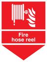 fire hose & flames & arrow down Text: fire hose reel