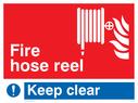 fire hose & flames Text: fire hose reel keep clear