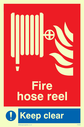 fire hose & flames Text: fire hose reel keep clear