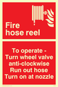 fire hose & flames Text: fire hose reel to operate turn wheel valve anti-clockwise run out hose turn on at nozzle