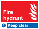 flames and mandatory exclamation symbol Text: Fire hydrant Keep clear