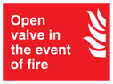 flames Text: open valve in the event of fire