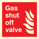 <p>Gas shut off valve with flames</p> Text: Gas shut off valve