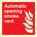 <p>Automatic opening smoke vent with flame symbol</p> Text: Automatic opening smoke vent