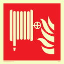 fire hose reel and flames - symbol only Text: none