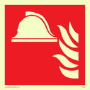 fire helmet and flames symbol only Text: none